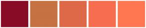 Color Scheme with #890C27 #C67243 #DE6948 #F76D50 #FF7751 #F95552 #F25750 #FB6260