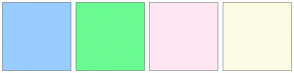 Color Scheme with #99CCFF #6AFB92 #FFE6F3 #FCFBE3