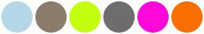 Color Scheme with #B4D8E7 #8C7C6C #C3FF0F #6F6D6D #FF08DA #F96F00