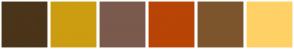 Color Scheme with #4A341A #CC9D10 #7A5A4C #B84406 #7D552D #FFD166