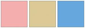 Color Scheme with #F5AEAE #DBCA95 #66A8DE