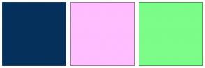 Color Scheme with #05305C #FFBEFF #7CFC89
