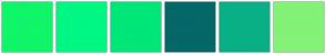 Color Scheme with #0FF669 #00F783 #00E678 #056768 #09B086 #83F277