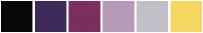 Color Scheme with #080808 #3D2A59 #7A2F60 #B799BA #C2BFC9 #F5D75F