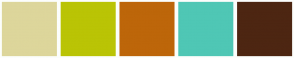 Color Scheme with #DDD69B #BAC405 #BD660A #4FC7B5 #4D2612