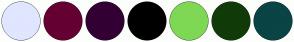 Color Scheme with #E0E6FF #660033 #330033 #000000 #7FD855 #113B08 #0A4444