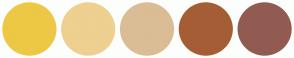 Color Scheme with #EDC844 #EED090 #DABD95 #A55D35 #915B51