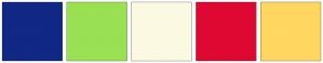 Color Scheme with #112885 #9AE053 #FCF9E3 #DE0933 #FFD761