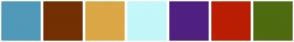 Color Scheme with #5199B8 #733003 #DBA746 #C3F7FA #502080 #BA1E02 #4F6B0F
