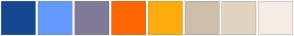 Color Scheme with #154890 #6699FF #817A99 #FF6600 #FFAC0D #CDBFAC #E1D4C0 #F5EDE3