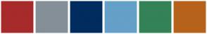 Color Scheme with #A72B2A #858F98 #002C5F #64A0C8 #348257 #B7621B