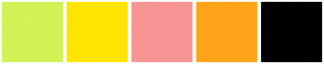 Color Scheme with #D3F255 #FFE500 #F79494 #FFA319 #000000