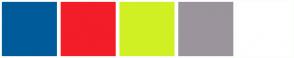 Color Scheme with #005B9A #F21D28 #D1F024 #9B949C #FFFFFF