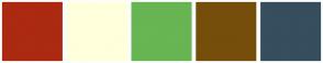 Color Scheme with #AB2A11 #FFFFDB #67B553 #754E0B #364E5E