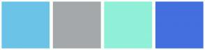 Color Scheme with #6BC4E8 #A4A8AB #90F0D8 #4370DE