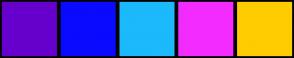 Color Scheme with #6600CC #0A0AFF #1CB9FC #F42BFF #FFCC00