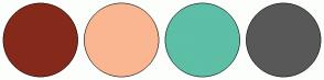 Color Scheme with #852A1B #FAB691 #5CBFA6 #595859