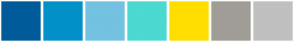 Color Scheme with #005B9A #0191C8 #74C2E1 #4CD9D2 #FFDE00 #A19D97 #C0C0C0