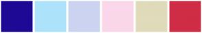 Color Scheme with #1E0994 #ACE3FA #CCD3F0 #FAD7EA #E0DBBA #CF2D46