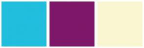 Color Scheme with #21BEDE #7F1769 #FAF6D2