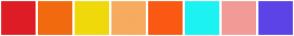 Color Scheme with #DE1D26 #F26A0F #F0D90A #F7AB5E #FA5914 #1DF2F2 #F29B96 #5C43E8