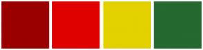 Color Scheme with #990000 #E00000 #E4D100 #256830