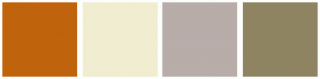 Color Scheme with #C0630D #F1EDD0 #B8ADA9 #8F8462