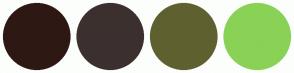 Color Scheme with #2E1814 #3C302F #5F6030 #89D256