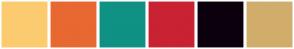 Color Scheme with #FCCB70 #E86831 #0F9184 #C92233 #0C000D #D1AD6B