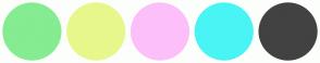 Color Scheme with #85EC91 #E8F78B #FDBFF9 #49F4F4 #424242