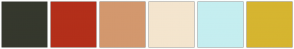Color Scheme with #35382D #B32F1A #D3986E #F4E5CE #C5EEF0 #D6B530