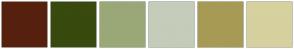 Color Scheme with #56200E #384A0E #9AA877 #C5CCBA #A79A55 #D6D19F