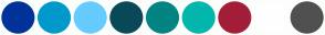 Color Scheme with #003399 #0099CC #66CCFF #0A4958 #028482 #01B6AD #A31E39 #FFFFFF #505050