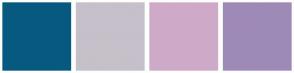 Color Scheme with #075980 #C6C0CA #CFAAC8 #9E8AB6