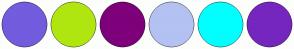 Color Scheme with #735CDD #B0E610 #7E007B #B3C2F2 #00FFFF #7526BF