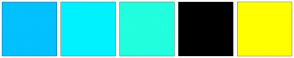 Color Scheme with #03C0FF #00F2FF #21FFDE #000000 #FFFF00