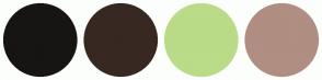 Color Scheme with #171414 #382822 #BADB88 #B08E82