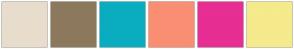 Color Scheme with #E8DDCC #8C795D #0AADBF #FA8E73 #E62E93 #F5EA8C