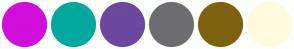 Color Scheme with #D10DDB #00A99E #6E479E #6D6D70 #7D610E #FFFADE