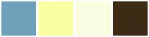 Color Scheme with #6FA1BB #FAFFA1 #FBFDE0 #3E2B15