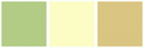 Color Scheme with #B3CC85 #FCFCC5 #DAC582