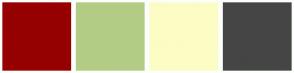 Color Scheme with #960000 #B3CC85 #FCFCC5 #454545
