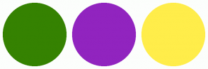 Color Scheme with #358201 #9124BF #FFED4A