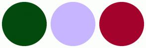 Color Scheme with #024A0D #C8B5FF #A3022D