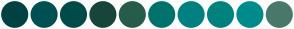 Color Scheme with #004242 #005053 #004B49 #18453B #255C4B #00736D #008080 #00827F #008B8B #49796B