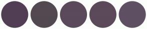 Color Scheme with #513E54 #524951 #5B495C #5C495A #5F5063