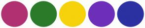 Color Scheme with #B03171 #2A7A2A #F5D20C #6D2FBA #2B31A1