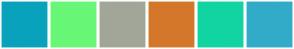 Color Scheme with #09A2BD #68F776 #A2A698 #D4772A #11D4A3 #32ABC9