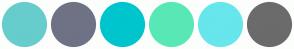 Color Scheme with #66CCCC #6F7285 #00C5CD #58E8B6 #67E6EC #6B6B6B