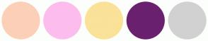 Color Scheme with #FCD0B8 #FCBDED #FAE298 #6A206E #D1D1D1